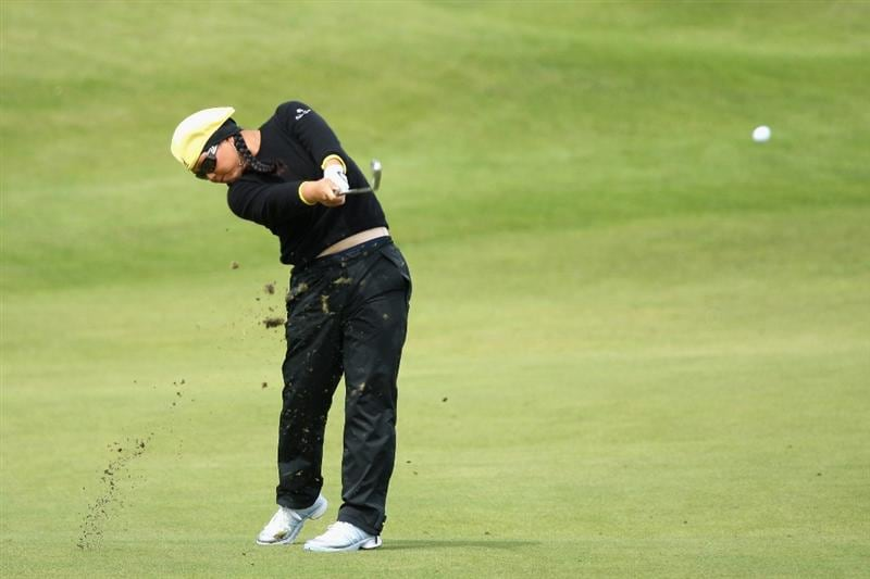 LYTHAM ST ANNES, ENGLAND - AUGUST 01:  Christina Kim of USA hits her second shot on the 2nd hole  during the third round of the 2009 Ricoh Women's British Open Championship held at Royal Lytham St Annes Golf Club, on August 1, 2009 in Lytham St Annes, England.  (Photo by David Cannon/Getty Images)