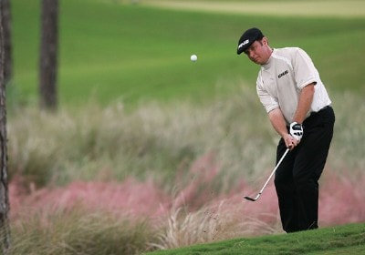 Ted Purdy hits a chip shot on the eighth hole during the third round of the Ginn Sur Mer Classic at Tesoro on October 27, 2007 in Port Saint Lucie, Florida. PGA TOUR - 2007 Ginn sur Mer Classic - Third RoundPhoto by Doug Benc/WireImage.com