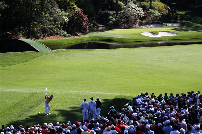 AUGUSTA, GA - APRIL 11:  Y.E. Yang of South Korea hits his tee shot on the 12th hole during the final round of the 2010 Masters Tournament at Augusta National Golf Club on April 11, 2010 in Augusta, Georgia.  (Photo by Jamie Squire/Getty Images)