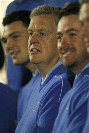 NEWPORT, WALES - SEPTEMBER 29:  Europe Team Captain Colin Montgomerie looks on during the European Team Photocall prior to the 2010 Ryder Cup at the Celtic Manor Resort on September 29, 2010 in Newport, Wales.  (Photo by Jamie Squire/Getty Images)