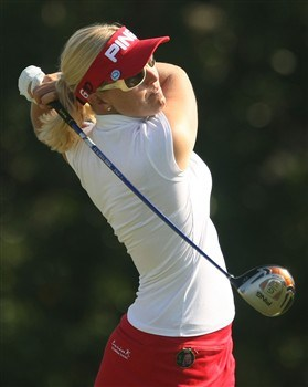 REUNION, FLORIDA - APRIL 19:  Carin Koch of Sweden watches her tee shot on the third hole during the third round of the Ginn Open at Reunion Resort April 19, 2008 in Reunion, Florida.  (Photo by Scott Halleran/Getty Images)
