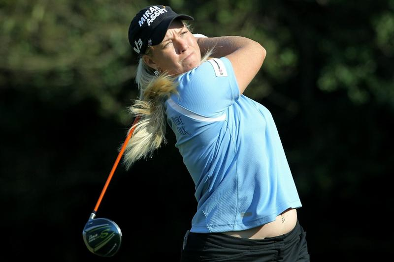 SHIMA, JAPAN - NOVEMBER 06:  Brittany Lincicome of the United States plays a tee shot on the 9th hole during the round two of the Mizuno Classic at Kintetsu Kashikojima Country Club on November 6, 2010 in Shima, Mie, Japan.  (Photo by Kiyoshi Ota/Getty Images)