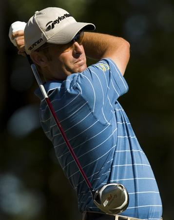 CHARLESTON, SC - OCTOBER 22: Jeff Gove watches his drive on the 16th hole during the first round of the Nationwide Tour Championship at Daniel Island on October 22, 2009 in Charleston, South Carolina. (Photo by Chris Keane/Getty Images)