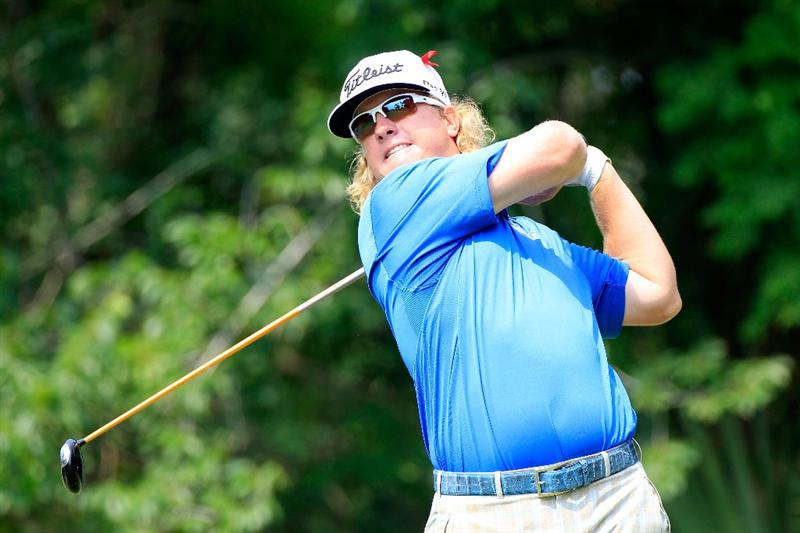 PONTE VEDRA BEACH, FL - MAY 14:  Charley Hoffman hits his tee shot on the fifth hole during the third round of THE PLAYERS Championship held at THE PLAYERS Stadium course at TPC Sawgrass on May 14, 2011 in Ponte Vedra Beach, Florida.  (Photo by Sam Greenwood/Getty Images)