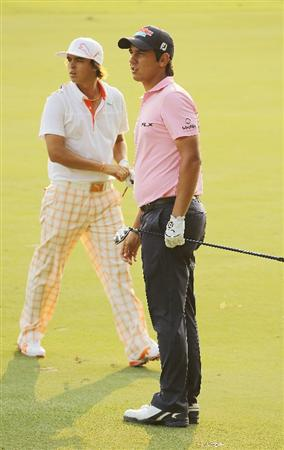 PONTE VEDRA BEACH, FL - MAY 12:  Rickie Fowler and Matteo Manassero of Italy look on from the 16th hole during the first round of THE PLAYERS Championship held at THE PLAYERS Stadium course at TPC Sawgrass on May 12, 2011 in Ponte Vedra Beach, Florida.  (Photo by Scott Halleran/Getty Images)