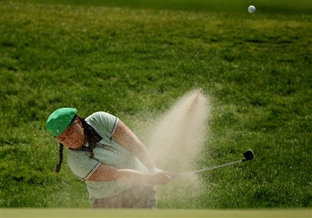 CLIFTON, NJ - MAY 15:  Christina Kim hits from a bunker on the 11th hole during the first round of the Sybase Classic presented by ShopRite on May 15, 2008 at the Upper Montclair Country Club in Clifton, New Jersey.  (Photo by Travis Lindquist/Getty Images)