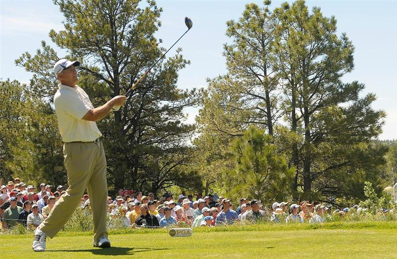 PARKER, CO. - MAY 29: Tom Lehman tees off the first hole during the third round of the Senior PGA Championship at the Colorado Golf Club on May 29, 2010 in Parker, Colorado.  (Photo by Marc Feldman/Getty Images)