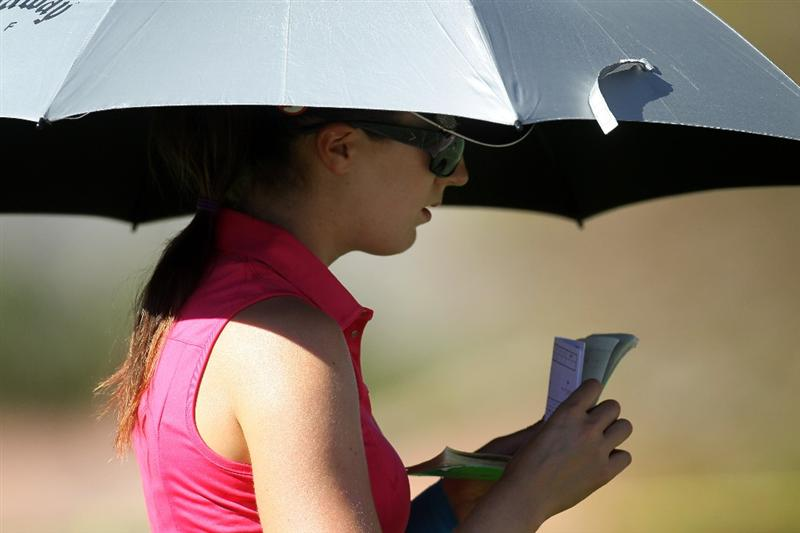 RANCHO MIRAGE, CA - MARCH 31:  Sandra Gal of Germany checks her scorebook as she walks to the eighth hole during the first round of the Kraft Nabisco Championship at Rancho Mirage Country Club on March 31, 2011 in Rancho Mirage, California.  (Photo by Stephen Dunn/Getty Images)