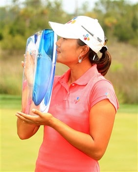 MT. PLEASANT, SC - JUNE 1:  Seon Hwa Lee of South Korea poses with the trophy after winning the Ginn Tribute at RiverTowne Country Club June 1, 2008 in Mt. Pleasant, South Carolina.  (Photo by Scott Halleran/Getty Images)