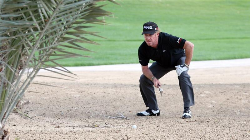 ABU DHABI, UNITED ARAB EMIRATES - JANUARY 16: Miguel Angel Jimenez of Spain on the par five 8th hole during the second round of the Abu Dhabi Golf Championship at the Abu Dhabi Golf Club on January 16, 2009 in Abu Dhabi, United Arab Emirates.  (Photo by Ross Kinnaird/Getty Images)