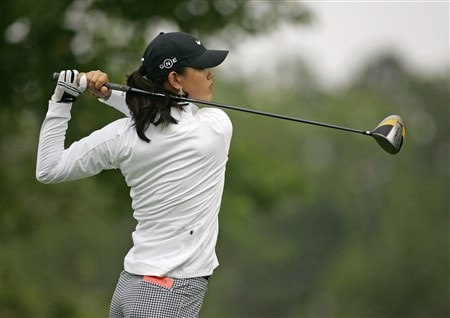 WILLIAMSBURG, VA - MAY 8: Michelle Wie hits her tee shot on the 10th hole during the first round of the Michelob Ultra Open at Kingsmill Resort & Spa on May 8, 2008 in Williamsburg, Virginia. (Photo by Hunter Martin/Getty Images)