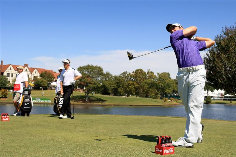 ATLANTA - SEPTEMBER 25:  Trevor Immelman of South Africa plays his tee shot on the seventh hole during the first round of THE TOUR Championship at East Lake Golf Club on September 25, 2008 in Atlanta, Georgia.  (Photo by Scott Halleran/Getty Images)