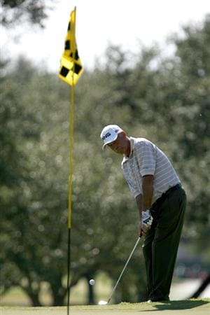 SAN ANTONIO - OCTOBER 25: Mark James of England chips on the third hole during the second round of  the AT&T Championship at Oak Hills Country Club on October 25, 2008 in San Antonio, Texas. (Photo by Thomas Shea/Getty Images)