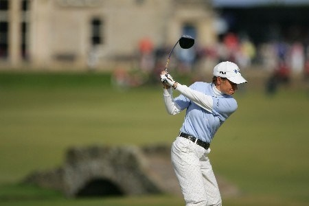 ST ANDREWS, UNITED KINGDOM - AUGUST 04:  Catriona Matthew of Scotland tees off on the 18th hole during the Third Round of the 2007 Ricoh Women's British Open held on the Old Course at St Andrews on August 4, 2007 in St Andrews, Scotland.  (Photo by Warren Little/Getty Images)