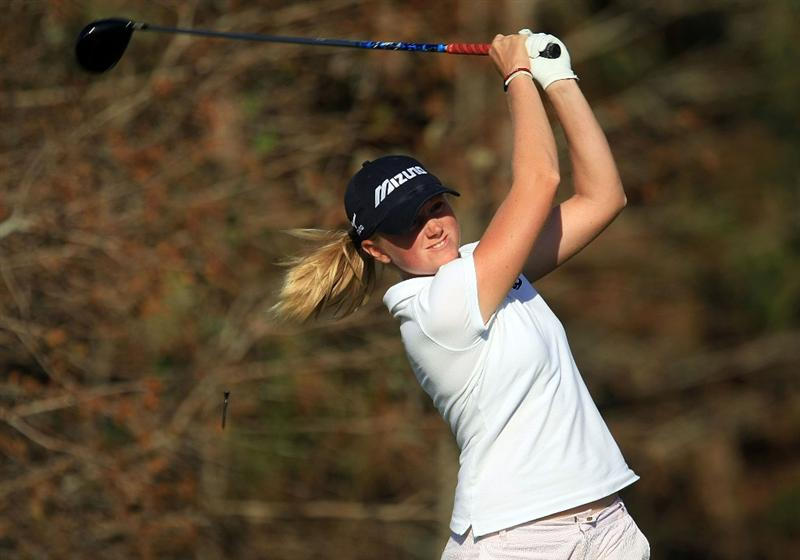 DAYTONA BEACH, FL - DECEMBER 06:  Stacy Lewis watches her tee shot on the 18th hole during the fourth round of the LPGA Qualifying School at LPGA International on December 6, 2008 in Daytona Beach, Florida.  (Photo by Scott Halleran/Getty Images)