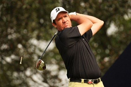 SHANGHAI, CHINA - NOVEMBER 09: Scott Hend of Australia plays a tee shot on 2nd during Day 2 of the HSBC Champions at the Sheshan Golf Club on November 9, 2007 in Shanghai, China.  (Photo by Ross Kinnaird/Getty Images)