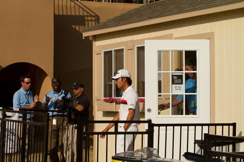 SAN ANTONIO, TX - APRIL 14: Kevin Na leaves the scoring trailer after discussing his score of 16 on the ninth hole with rules officials following the first round of the Valero Texas Open at the AT&T Oaks Course at TPC San Antonio on April 14, 2011 in San Antonio, Texas. (Photo by Darren Carroll/Getty Images)