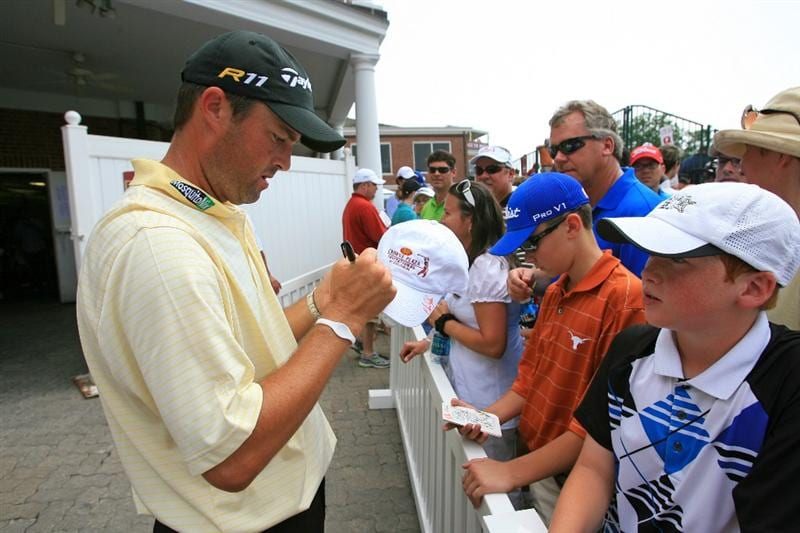 FORT WORTH, TX - MAY 21: Ryan Palmer signs autographs after his round during the third round of the Crowne Plaza Invitational at Colonial Country Club on May 21, 2011 in Fort Worth, Texas. (Photo by Hunter Martin/Getty Images)