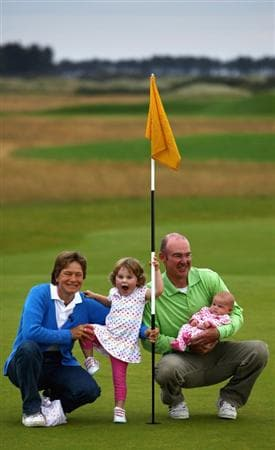 DIRLETON, SCOTLAND - AUGUST 04:  Women's British Open winner Catriona Matthew is photographed with her husband Graham and daughters, two year old Katie and 11 week old Sophie at Archerfield Links golf club on August 4, 2009 in Dirleton, Scotland. The 39 year old mother won the open at Lytham St Annes on Sunday.  (Photo by Jeff J Mitchell/Getty Images)