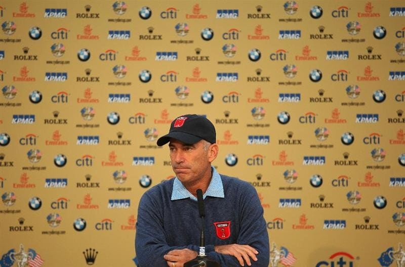 NEWPORT, WALES - SEPTEMBER 29:  USA Team Captain Corey Pavin answers questions from the media at a press conference during a practice round prior to the 2010 Ryder Cup at the Celtic Manor Resort on September 29, 2010 in Newport, Wales.  (Photo by Jamie Squire/Getty Images)