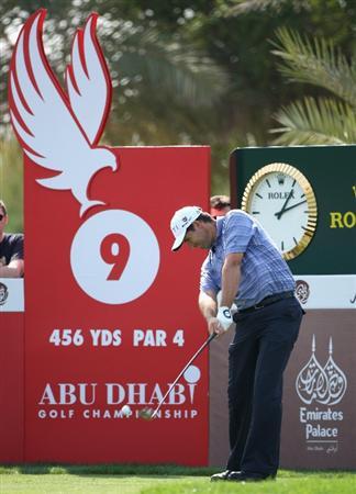 ABU DHABI, UNITED ARAB EMIRATES - JANUARY 17:  Padraig Harrington of Ireland tees off on the ninth hole during the third round of The Abu Dhabi Golf Championship at Abu Dhabi Golf Club on January 17, 2009 in Abu Dhabi, United Arab Emirates.  (Photo by Andrew Redington/Getty Images)