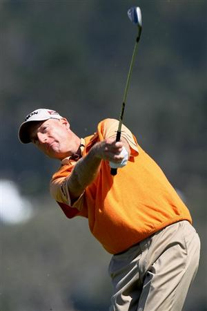 PEBBLE BEACH, CA - JUNE 16:  Jim Furyk hits a shot during a practice round prior to the start of the 110th U.S. Open at Pebble Beach Golf Links on June 16, 2010 in Pebble Beach, California.  (Photo by Stephen Dunn/Getty Images)