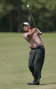 Dicky Pride hits his approach shot on the 7th hole during the third round of the Southern Farm Bureau Classic at Annandale Golf Club in Madison, Mississippi, on September 30, 2006. Photo by Hunter Martin/WireImage.com