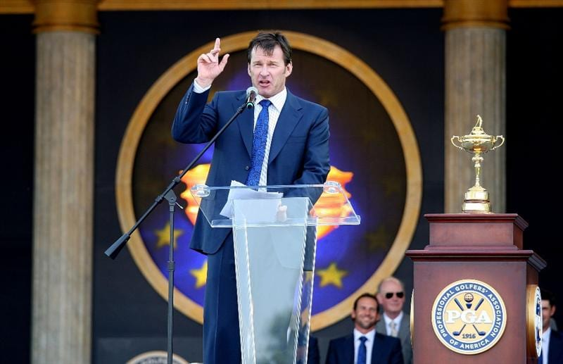 LOUISVILLE, KY - SEPTEMBER 18:  Nick Faldo, captain of the European team, speaks to the crowd during the opening ceremony for the 2008 Ryder Cup at Valhalla Golf Club on September 18, 2008 in Louisville, Kentucky.  (Photo by David Cannon/Getty Images)