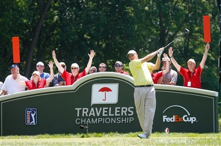 CROMWELL, CT - JUNE 21:  Chad Campbell hits a tee shot during the third round of the Travelers Championship at TPC River Highlands held on June 21, 2008 in Cromwell, Connecticut. (Photo by Jim Rogash/Getty Images)