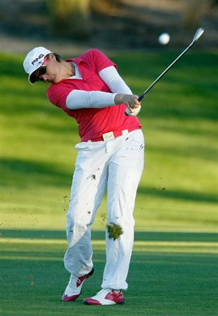 ORLANDO, FL - DECEMBER 03:  Maria Hjorth of Sweden hits her approach shot on the 16th hole during the second round of the LPGA Tour Championship at the Grand Cypress Resort on December 3, 2010 in Orlando, Florida.  (Photo by Scott Halleran/Getty Images)