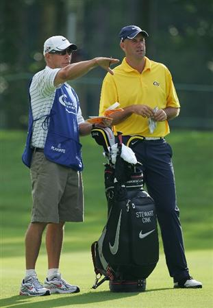 NORTON, MA - SEPTEMBER 05:  Stewart Cink of the United States wears a Georgia Tech logo during the second round of the Deutsche Bank Championship at TPC Boston held on September 5, 2009 in Norton, Massachusetts.  (Photo by Michael Cohen/Getty Images)