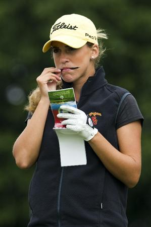HAIKOU, CHINA - OCTOBER 29:  Spanish golfer Belen Mozo looks at her yardage book on the 13th tee during day three of the Mission Hills Start Trophy tournament at Mission Hills Resort on October 29, 2010 in Haikou, China. The Mission Hills Star Trophy is Asia's leading leisure liflestyle event which features Hollywood celebrities and international golf stars.  (Photo by Victor Fraile/Getty Images for Mission Hills)