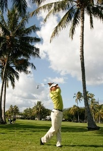 Brad Adamonis hits his second shot to the green during the third round of the Sony Open in Hawaii held at Waialae Country Club January 12, 2008 in Honolulu, Hawaii. PGA TOUR - 2008 Sony Open in Hawaii - Third RoundPhoto by Stan Badz/PGA TOUR/WireImage.com