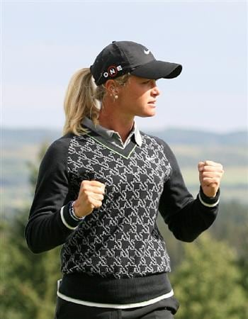 CALGARY, AB - SEPTEMBER 06 : Suzann Pettersen of Norway reacts on the 18th green after winning the Canadian Women's Open at Priddis Greens Golf & Country Club on September 6, 2009 in Calgary, Alberta, Canada. (Photo by Hunter Martin/Getty Images)