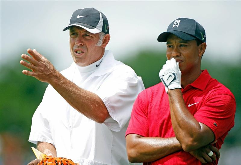 DUBLIN, OH - JUNE 06:  Tiger Woods chats with his caddie Steve Williams on the first hole during the final round of the Memorial Tournament presented by Morgan Stanley at Muirfield Village Golf Club on June 6, 2010 in Dublin, Ohio.  (Photo by Scott Halleran/Getty Images)