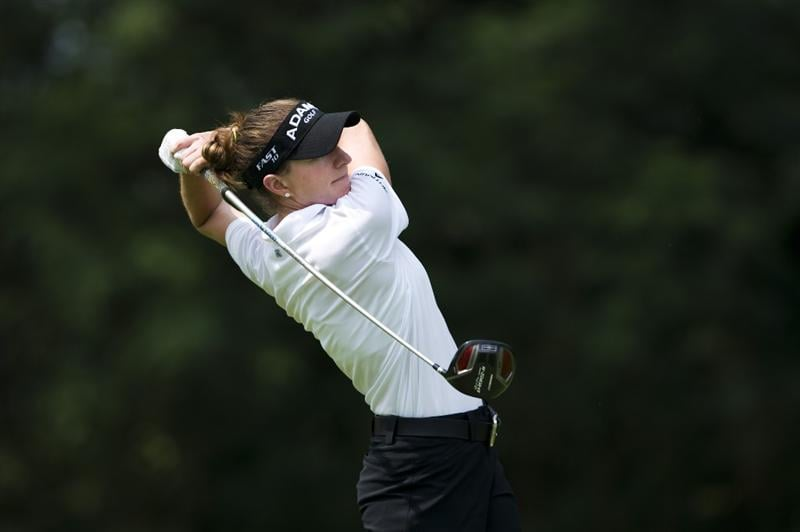 CHON BURI, THAILAND - FEBRUARY 19:  Brittany Lang of USA tees off on the 9th hole during round two of the Honda LPGA Thailand at the Siam Country Club on February 19, 2010 in Chon Buri, Thailand.  (Photo by Victor Fraile/Getty Images)