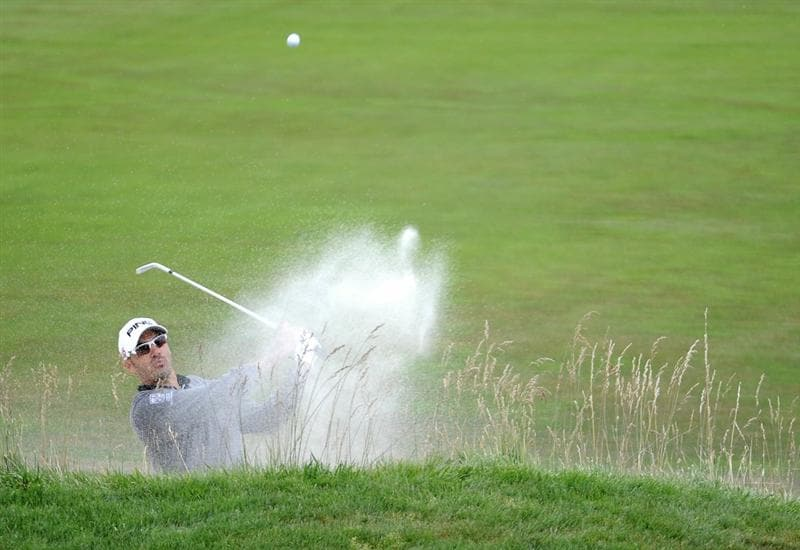 PEBBLE BEACH, CA - JUNE 20:  Gregory Havret of France hits a bunker shot on the 18th green during the final round of the 110th U.S. Open at Pebble Beach Golf Links on June 20, 2010 in Pebble Beach, California.  (Photo by Harry How/Getty Images)