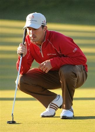LAS VEGAS- OCTOBER 16:  Mike Weir lines up a putt for birdie on the 12th hole during the first round of the Justin Timberlake Shriners Hospitals for Children Open held at the TPC Summerlin on October 16, 2008 in Las Vegas, Nevada. (Photo by Marc Feldman/Getty Images)