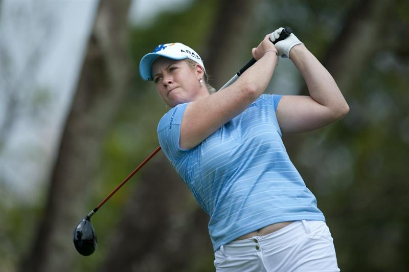 CHON BURI, THAILAND - FEBRUARY 19:  Brittany Lincicome of USA tees of on the 2nd hole during day three of the LPGA Thailand at Siam Country Club on February 19, 2011 in Chon Buri, Thailand.  (Photo by Victor Fraile/Getty Images)