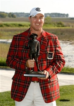 HILTON HEAD, SC - APRIL 20:  Boo Weekley poses with the winner's trophy after winning the Verizon Heritage at Harbour Town Golf Links April 20, 2008 in Hilton Head, South Carolina.  (Photo by Streeter Lecka/Getty Images)