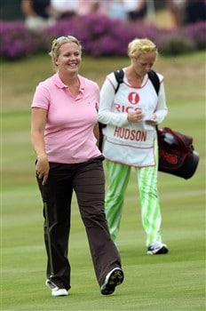 SUNNINGDALE, UNITED KINGDOM - JULY 31:  Rebecca Hudson of England walks to the 18th green during her round of  6 under par 66 during the first round of the 2008  Ricoh Women's British Open Championship held on the Old Course at Sunningdale Golf Club, on July 31, 2008 in Sunningdale, England.  (Photo by David Cannon/Getty Images)
