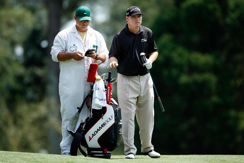 AUGUSTA, GA - APRIL 10:  Chad Campbell waits with his caddie Judd Burkett on the 15th hole during the second round of the 2009 Masters Tournament at Augusta National Golf Club on April 10, 2009 in Augusta, Georgia.  (Photo by Jamie Squire/Getty Images)