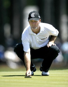 Jerry Kelly lines up a putt on the ninth green during the second round of the 2007 Verizon Heritage Classic at Harbour Town Golf Links in Hilton Head Island on April 13, 2007 PGA TOUR - 2007 Verizon Heritage - Second RoundPhoto by Steve Grayson/WireImage.com