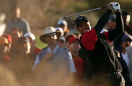MARANA, AZ - FEBRUARY 24:  Tiger Woods hits a shot from the rough on the first hole during the Championship match of the WGC-Accenture Match Play Championship at The Gallery at Dove Mountain on February 24, 2008 in Marana, Arizona.  (Photo by Scott Halleran/Getty Images)