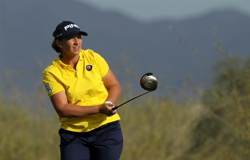 PHOENIX, AZ - MARCH 18:  Angela Stanford watches her tee shot on the 18th hole during the first round of the RR Donnelley LPGA Founders Cup at Wildfire Golf Club on March 18, 2011 in Phoenix, Arizona.  (Photo by Stephen Dunn/Getty Images)