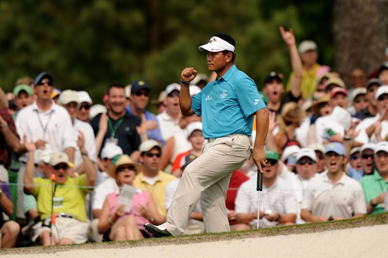AUGUSTA, GA - APRIL 09:  K.J. Choi of South Korea reacts to saving par on the seventh hole during the third round of the 2011 Masters Tournament at Augusta National Golf Club on April 9, 2011 in Augusta, Georgia.  (Photo by Harry How/Getty Images)
