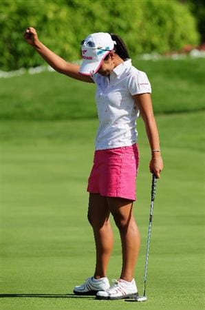 EVIAN-LES-BAINS, FRANCE - JULY 26: Ai Miyazato of Japan celebrates winning on the first playoff hole, the 18th,  against Sofie Gustafson of Sweden after the final round of the Evian Masters at the Evian Masters Golf Club on July 26, 2009 in Evian-les-Bains, France.  (Photo by Stuart Franklin/Getty Images)