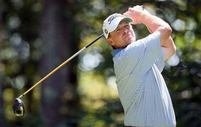 NORTON, MA - SEPTEMBER 4:  Steve Stricker watches a tee shot  during Round One of the 2009 Deutsche Bank Championship In Norton, Massachusetts  on September 5, 2009 in Boston, Massachusetts. (Photo by Jim Rogash/Getty Images)