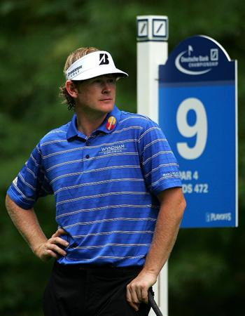 NORTON, MA - SEPTEMBER 03:  Brandt Snedeker looks on from the ninth hole during the first round of the Deutsche Bank Championship at TPC Boston on September 3, 2010 in Norton, Massachusetts.  (Photo by Michael Cohen/Getty Images)