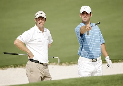 Bradley Dredge and Paul Casey discuss the break of the green during practice for the 2007  Masters at the Augusta National Golf Club in Augusta, Georgia, on April 3, 2007. The 2007 Masters - Practice - April 3, 2007Photo by Sam Greenwood/WireImage.com